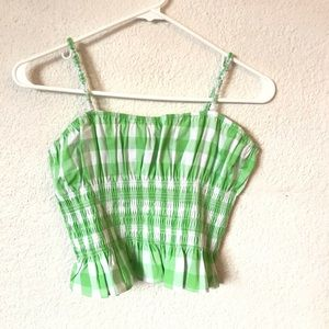 Urban Outfitters green gingham cami top